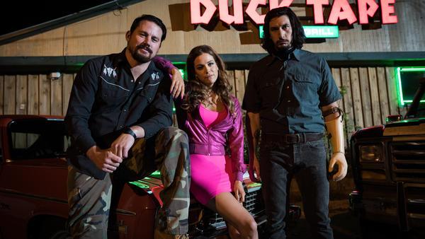 Jimmy Logan (Channing Tatum), Mellie Logan (Riley Keough), and Clyde Logan (Adam Driver) in <em>Logan Lucky</em>.