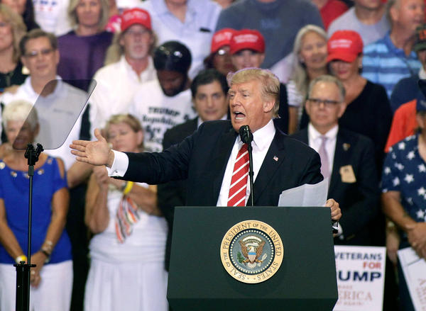 President Trump speaks to supporters Tuesday at a campaign rally in Phoenix.