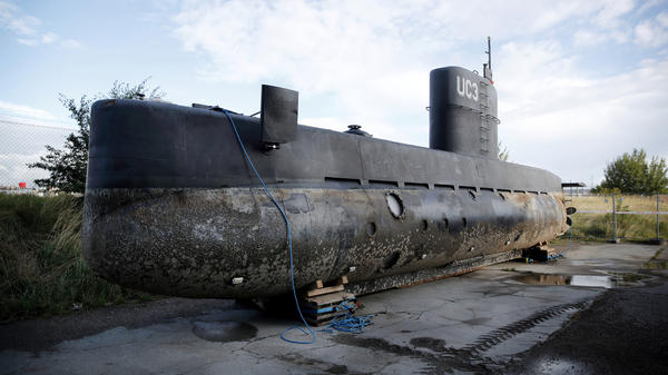 Peter Madsen's private submarine sits on a pier in Copenhagen's harbor. Danish police have identified a headless, limbless torso that washed ashore Monday as that of Kim Wall, the journalist who joined Madsen on his sub earlier this month to report a story.