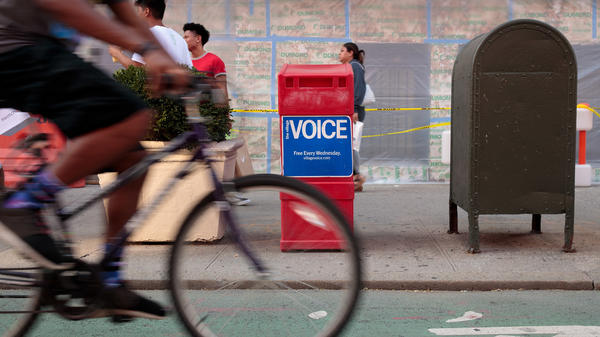 An East Village newsstand of <em>T</em><em>he Voice</em>, which is ending its print edition after 62 years. Its final publication date has yet to be finalized.
