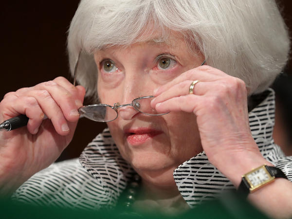 Federal Reserve Chair Janet Yellen testifies before the Senate Banking Committee in July. President Trump has given mixed signals about whether he will re-appoint her when her term as chair expires in February.