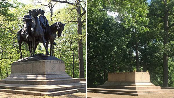 Baltimore's statue of Confederate Gens. Robert E. Lee and Stonewall Jackson before it was removed (left); now, the platform is empty except for a few potted plants.