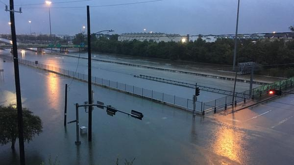 The midtown neighborhood of Houston inundated by flood water early Sunday as Tropical Storm Harvey made its way across Texas.