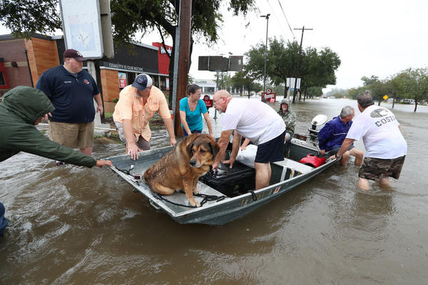 Neighbors with boats are using their personal boats to rescue Friendswood residents in Houston.