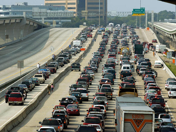 In September 2005, vehicles jam the northbound lanes of I-45 heading out of Houston, as the southbound lanes sit empty. Residents were fleeing Hurricane Rita, motivated in part by the recent horrors they'd observed when Katrina hit New Orleans.
