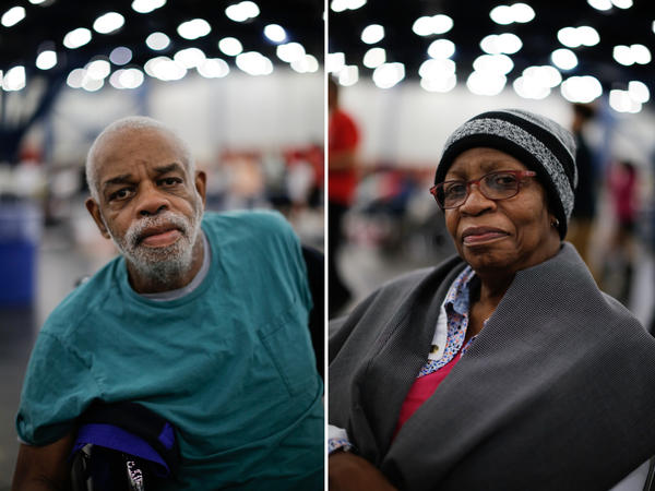 "Dannie Harris and his sister Betty Shaw arrived at the convention center on Monday night. ""When it first started the water rose and went down twice,"" Betty says of the water in their home. ""So we thought maybe it was gonna stop. I started sweeping up."" Dannie said ""[Hurricane] Ike had just gone through."" After they realized it wasn't going to subside they called for help."