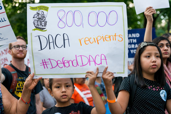 Activists marched to Trump Tower in New York in anticipation of President Trump's elimination of the DACA program.