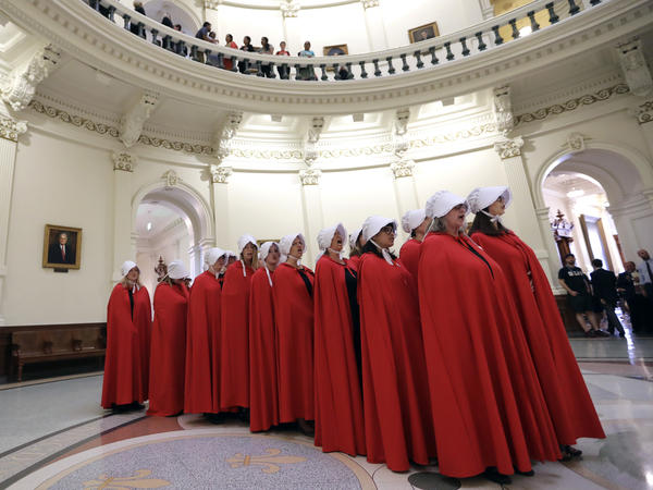"Demonstrators dressed as characters from ""The Handmaid's Tale"" to protest SB8 at the Texas Capitol in May."