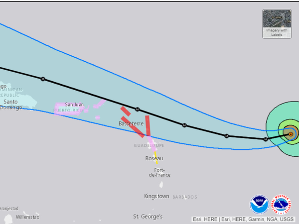 Detail from a U.S. Hurricane Center map of the forecast track for Hurricane Irma. The red areas denote places where a hurricane warning is in effect; pink denotes a watch.