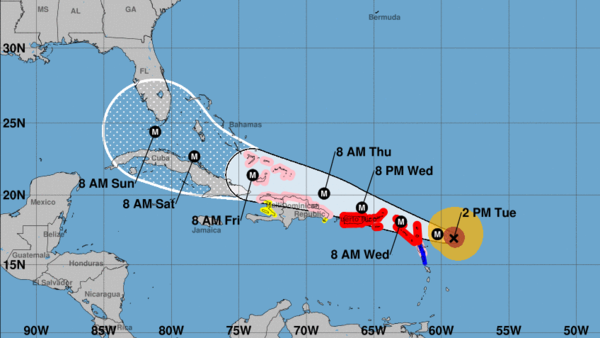 "Irma is ""potentially catastrophic"" and is expected to remain a major hurricane as it makes its way west toward the U.S. mainland's coast, forecasters say."