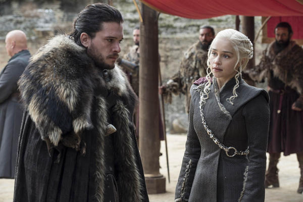 "Kit Harington, left, and Emilia Clarke on the season finale of ""Game of Thrones."" The series set yet another audience record Sunday with its seventh-season finale. (Macall B. Polay/HBO)"