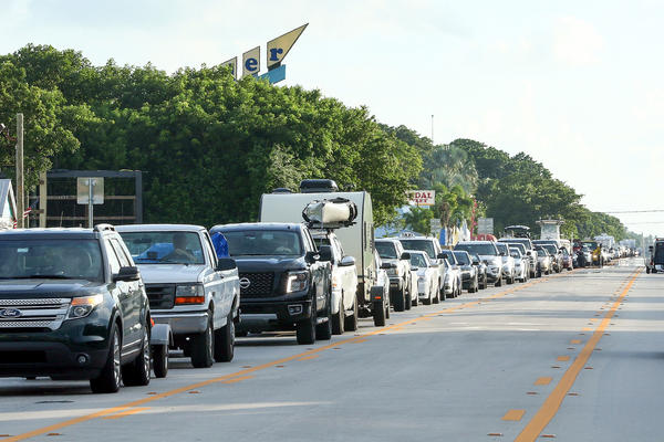 Traffic on Overseas Highway in Islamorada in the Florida Keys is backed up as people fleeing Hurricane Irma head north Tuesday. Visitors were told to leave on Wednesday, under mandatory evacuation orders that took effect at 7 a.m. ET.