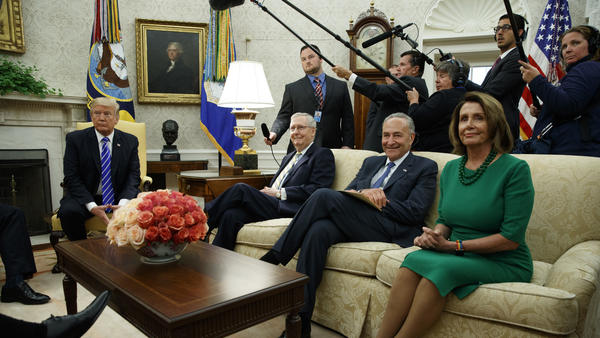 President Trump meets with Senate Majority Leader Mitch McConnell, R-Ky., Senate Minority Leader Chuck Schumer, D-N.Y., House Minority Leader Nancy Pelosi, D-Calif., and other congressional leaders in the Oval Office on Wednesday.