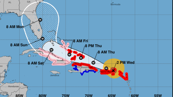 Hurricane Irma, seen here in a 2 p.m. ET projection, is predicted to remain a major hurricane as it pushes its way through the Caribbean and arrives at Florida's coast this weekend.