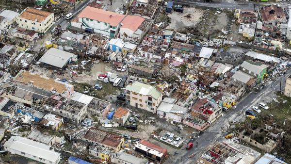 An aerial photograph released by the Dutch Department of Defense shows the damage from Hurricane Irma in Philipsburg, on the Dutch portion of the Caribbean island of Sint Maarten.