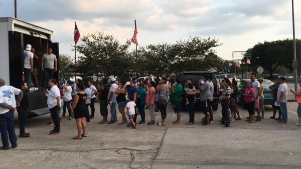 Much of the onus for helping immigrants without legal status is falling on private groups. Over the weekend, a group of volunteers from Austin delivered a trailer full of supplies to an immigrant neighborhood in Houston.