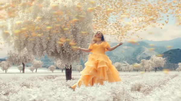 "A still from Kelly Clarkson's ""Love So Soft"" video."