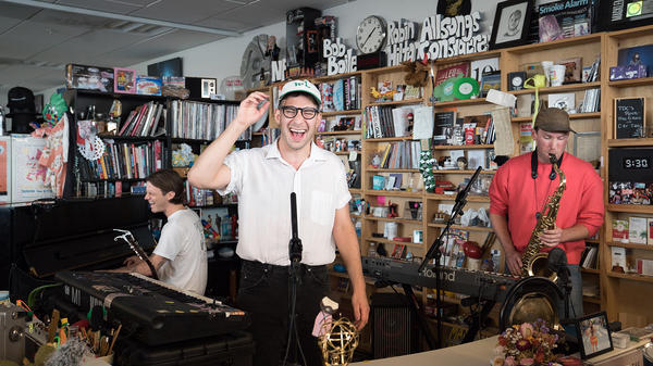 Bleachers performs a Tiny Desk Concert on July 17, 2017. (Claire Harbage/NPR)