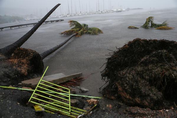 Bits of debris are strewn near the Puerto Chico Harbor in Fajardo, Puerto Rico, as Hurricane Irma hit the U.S. territory.