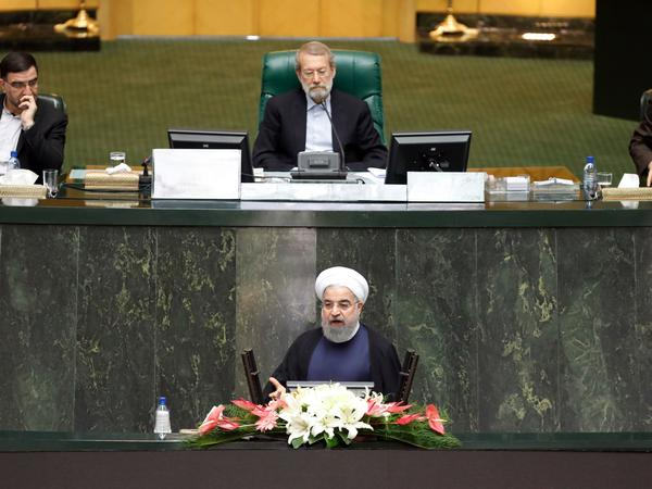President Hassan Rouhani addresses Iran's Parliament on Aug. 20. He said the top foreign policy priority for his new government would be to protect the nuclear deal.