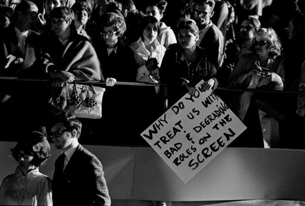 <em>Protestors outside the 42nd Academy Awards, Hollywood. </em>Circa 1970.