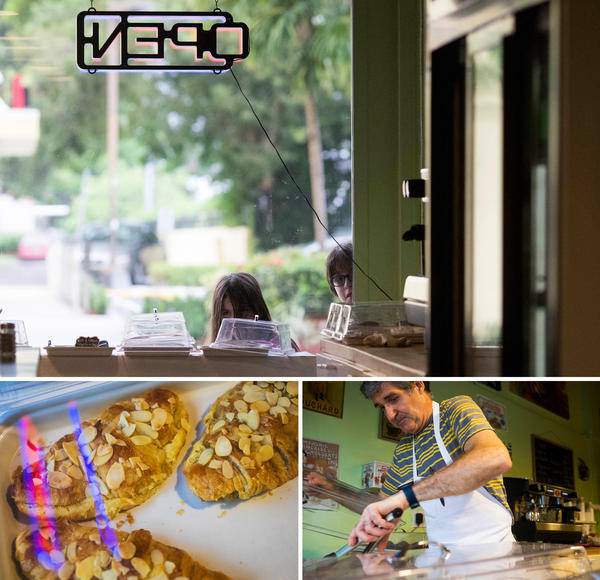 Top: Customers at Café Croissant peek through the front window ahead of the arrival of Hurricane Irma in Miami, Fla., on Saturday. Bottom: Co-owner Pascal Vedel prepares a box of croissants.