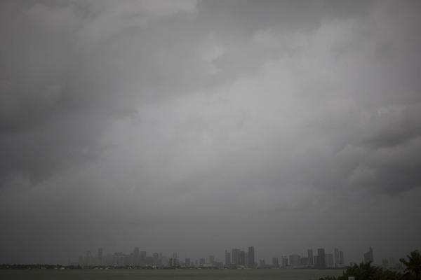 Hurricane Irma approaches the Miami skyline seen on Saturday morning.