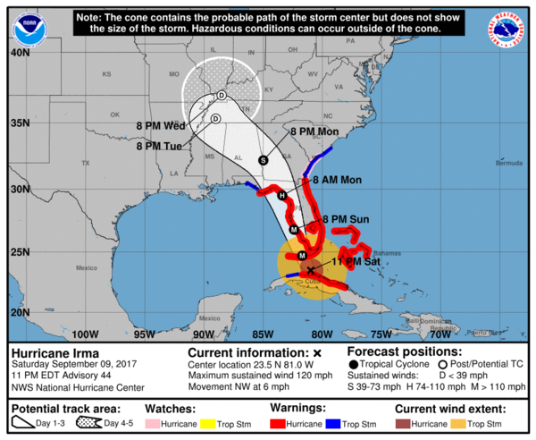 NOAA graphic showing coastal areas at risk from Hurricane Irma, as of approximately 11 p.m. Saturday.