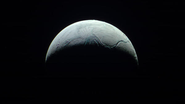 Cassini has detected jets of water coming from Saturn's moon Enceladus. Scientists think liquid oceans may lie beneath the surface of the tiny moon.