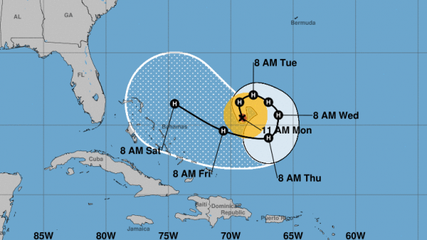Hurricane Jose is expected to make an unusual curlicue maneuver in the Atlantic as it passes north of Puerto Rico. By this weekend, it will be close to the northern Bahamas.