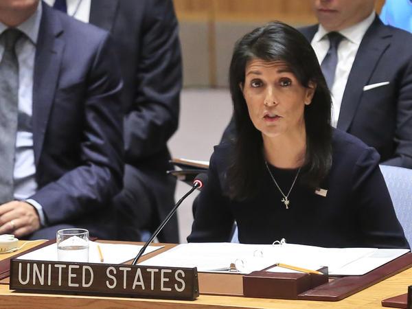 United Nations U.S. Ambassador Nikki Haley addresses a U.N. Security Council meeting on North Korea on Monday.