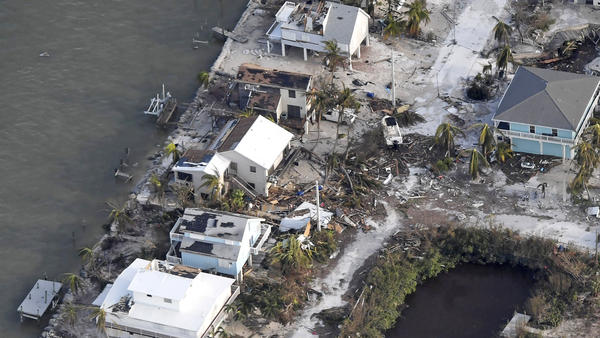 Houses in the Florida Keys damaged by Hurricane Irma are seen from a Coast Guard flight Monday.