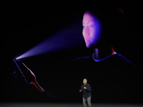 Apple's Schiller presents the iPhone's new facial-recognition feature, called Face ID.