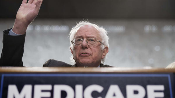 "Sen. Bernie Sanders, I-Vt., discusses his ""Medicare for All"" legislation on Capitol Hill on Wednesday."