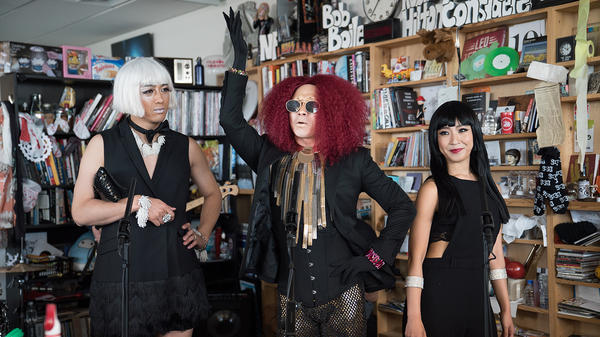 SsingSsing performs a Tiny Desk Conert on June 27, 2017. (Claire Harbage/NPR)