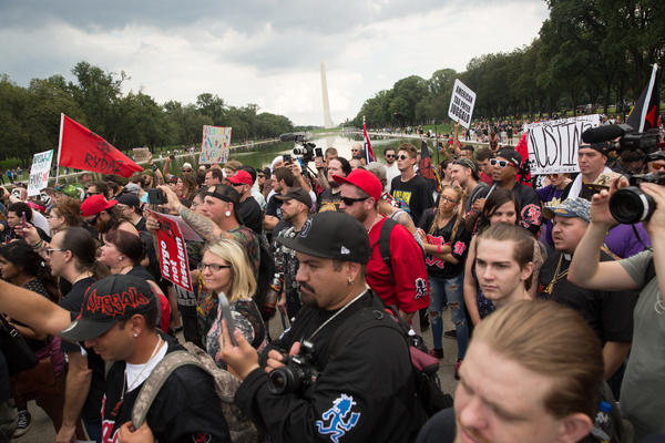 People gather at the Lincoln Memorial in Washington, D.C., for Saturday's Juggalo March.