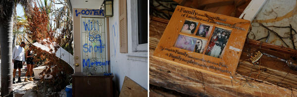 (Left) The door of the Collinses' home has a spray-painted warning to would-be looters. (Right) A family photo turned up in the mess.