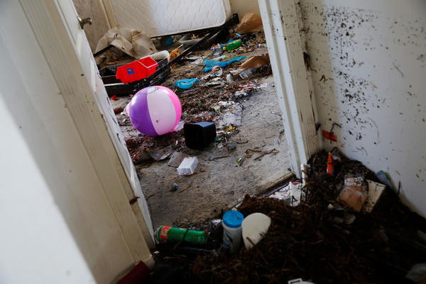 Seaweed is mixed with toys and belongings in the Collins family's home.