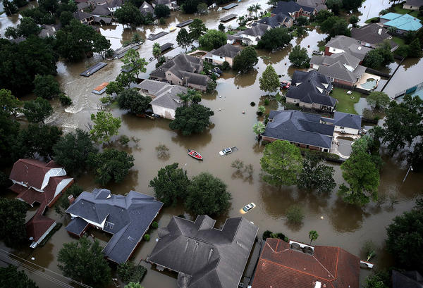Flooded homes are shown near Lake Houston on Aug. 30 after Hurricane Harvey hit the Houston area.