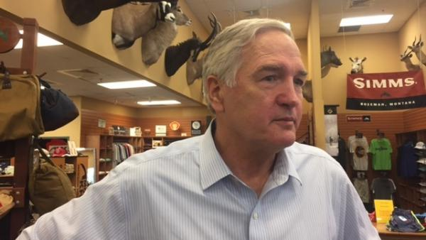 Sen. Luther Strange, R-Ala., campaigns at McCoy Outdoors in Mobile last weekend.
