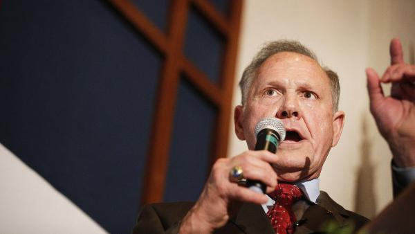 Former Alabama state Supreme Court Chief Justice and U.S. Senate candidate Roy Moore speaks to supporters in Montgomery, Ala.