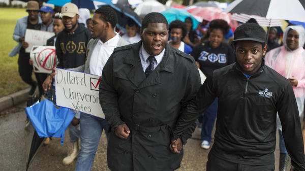 Dillard University students march to their polling place on campus to vote in New Orleans on Nov. 8, 2016.