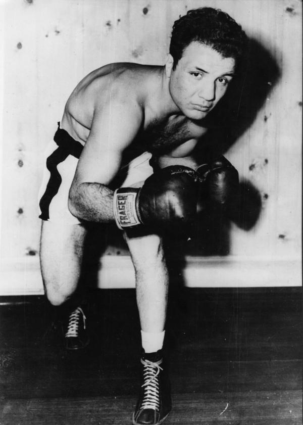 Jake LaMotta trains to take on French boxer Marcel Cerdan in 1949.