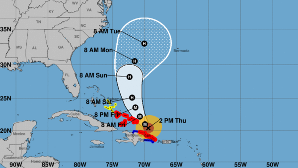 Hurricane Maria is predicted to make a turn more to the north in the coming days, as seen in this National Hurricane Center forecast from 2 p.m. ET.