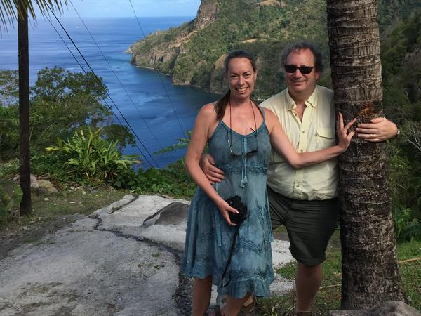 Michelle Guenard (left) and her husband, Brian Machesney, overlooking Scott's Head and Soufriere Bay, Dominica, earlier this year.