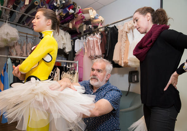 New York City Ballet Director of Costumes Marc Happel and Draper Kellie Sheehan conduct a costume fitting with soloist Indiana Woodward for Justin Peck's <em>Pulcinella Variations</em>, with costumes designed by Tsumori Chisato.