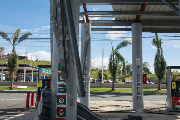 Puma Gas Station, across the street from the Gulf Route 65 gas station, was damaged during Hurricane Maria.