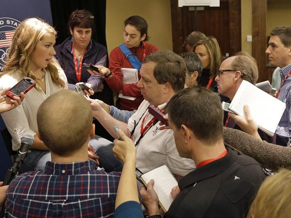 "American alpine skier Mikaela Shiffrin speaks with reporters at the U.S. Olympic team media event Wednesday. Shiffrin said it's ""cool"" to see sports play a bigger role in politics and culture than it has in the past."