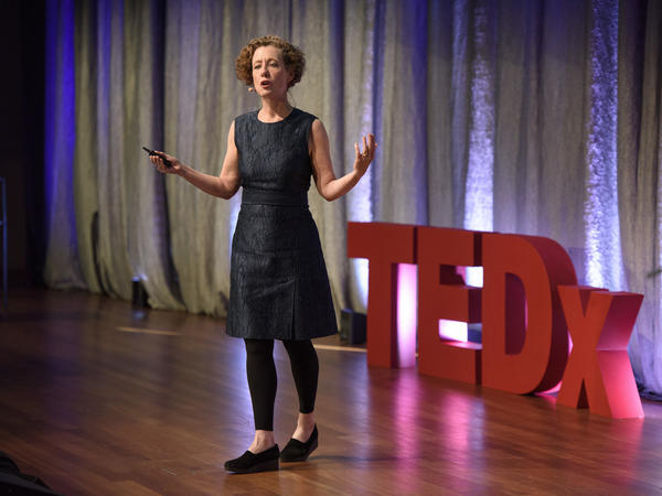 Mary Ellen Hannibal on the TEDx stage