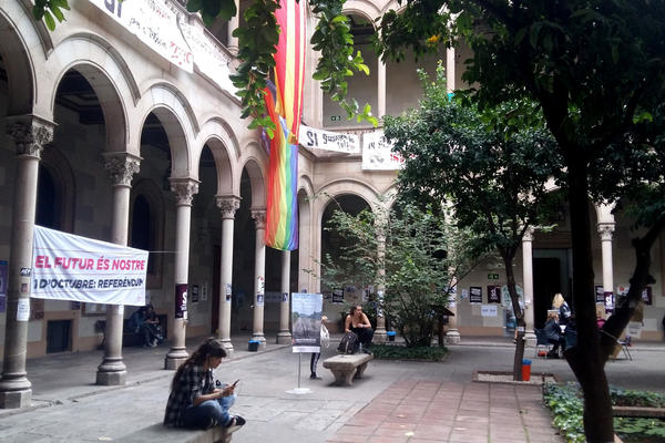 "A banner hangs in the courtyard of a University of Barcelona building that reads, ""The future is ours,"" in Catalan. Students are ""occupying"" the building ahead of an independence vote."
